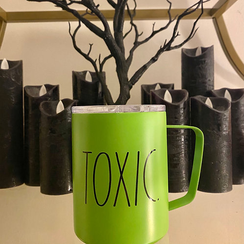 TOXIC Rae Dunn Travel Coffee Mug - Bright Green