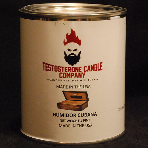 Humidor Cubana Cuban Cigar and Cedar scented Pint Size wood wick candle