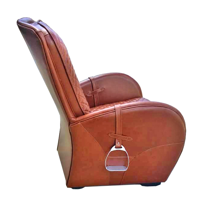 Full Leather Saddle Chair