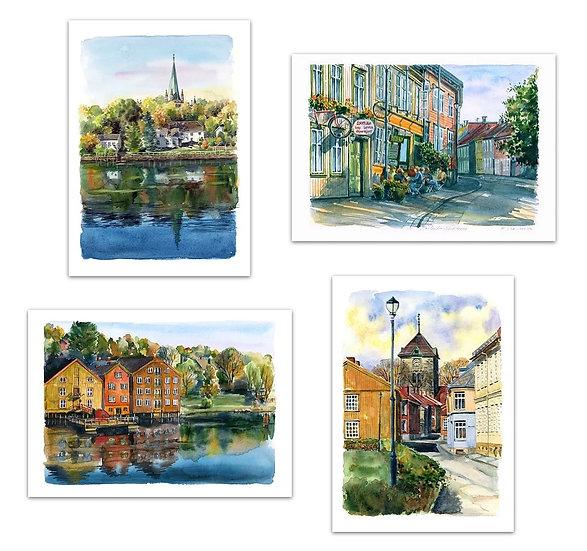 «Trondheim» 4 akvareller – kunsttrykk i A4 og A3+