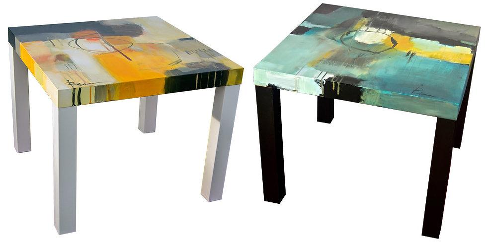 Liten KUNST-bord med hånd-malt abstrakt motiv