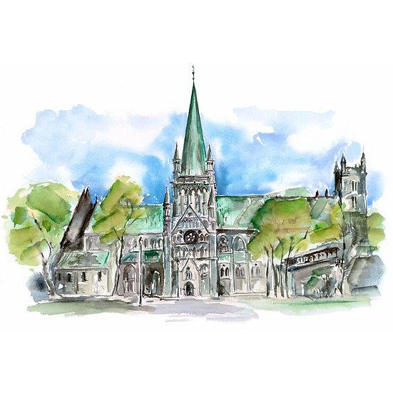 Katedralen Nidarosdomen i Trondheim tegnet som akvarell