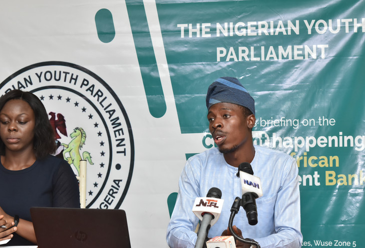 PRESS BRIEFING OF THE NIGERIAN YOUTH PARLIAMENT ON THE CURRENT AFFAIRS AT THE AFRICAN DEVELOPMENT BANK