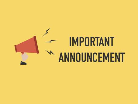 IMPORTANT ANNOUCEMENT - Temporary Closure