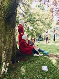 resting and reading at Waddesdon