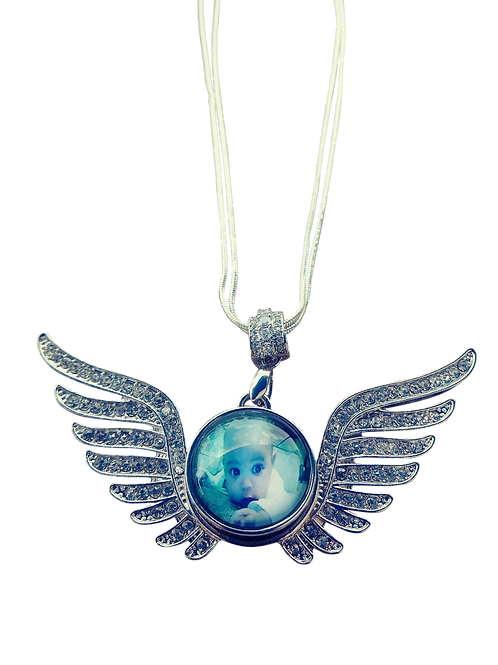 Diamond Wing Photo Snap Necklace