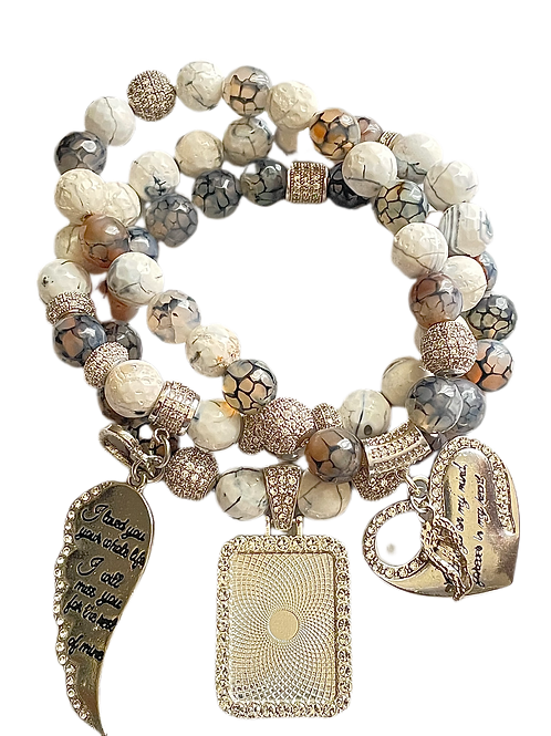 Dragon Vein Stacked Photo Charm Bracelet