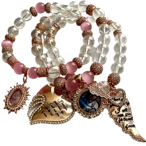 Rose Gold, Clear Quartz  & Rose Quartz 3 Stack Beaded Charm Bracelet