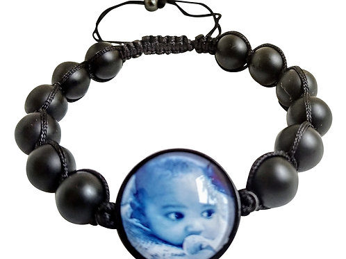 Black Onyx Wrapped Beads with Photo Band