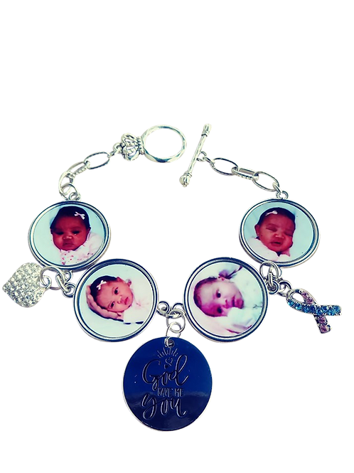 4 Photo Silver Charm Band