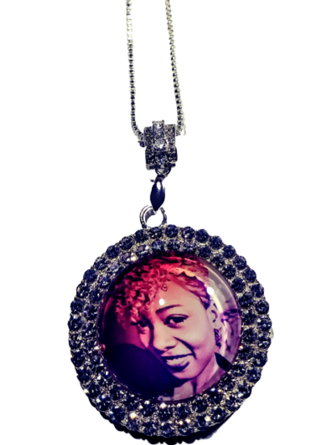Rhinestone Photo Necklace