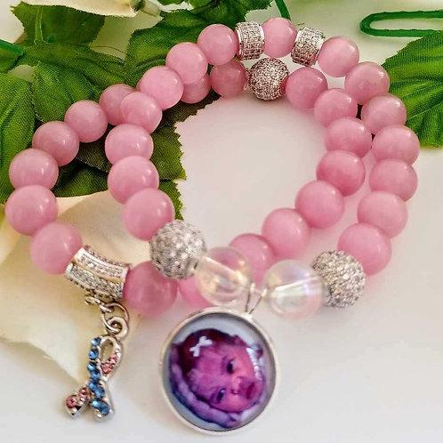 Rose Quartz Photo Bead Bracelet Set
