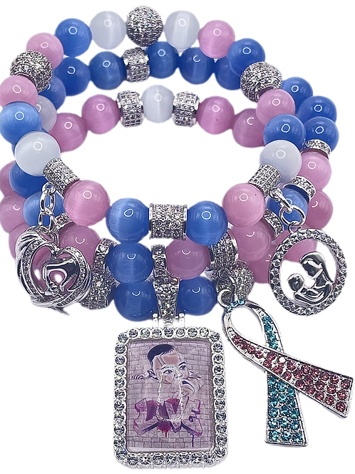 Infant Loss Awereness Stacked Stone Bracelet