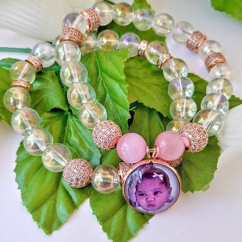 Rainbow Quartz Photo Bead Bracelet Set