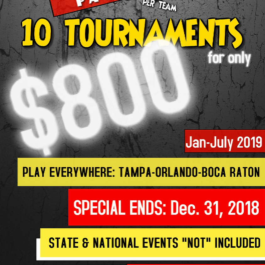 2019 SEASON PACKAGE (10 TOURNAMENTS FOR $800)