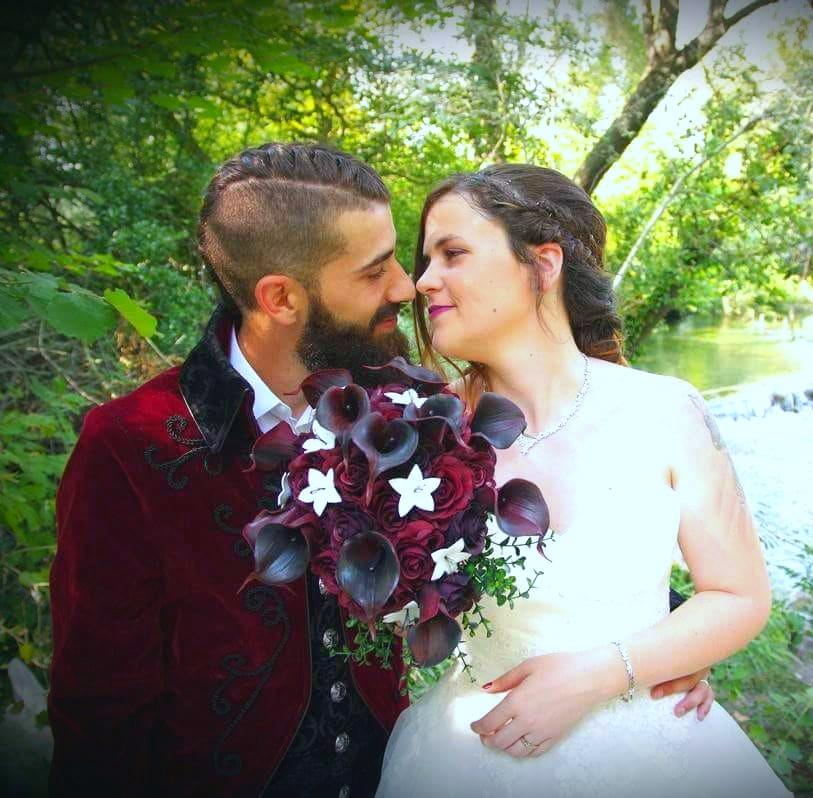 Bouquet mariée - rouge et noir