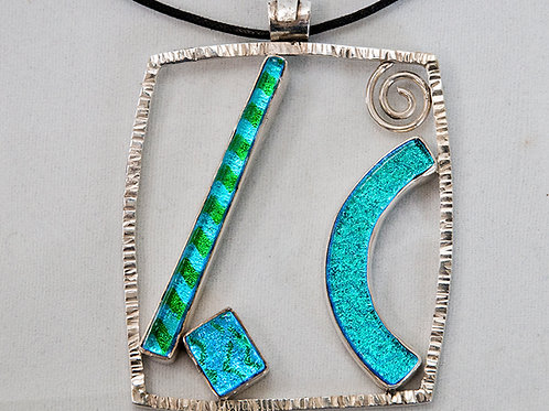 Blue And Green Dichroic Glass Necklace With Spiral