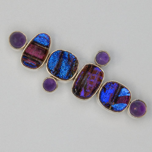 Dichroic stone brooch with amethyst