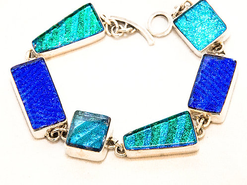 Dichroic Glass Bracelet With Various Shades Of Blues & Accents of Green
