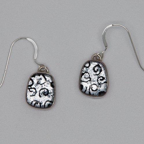 Silver/Black dichroic earrings