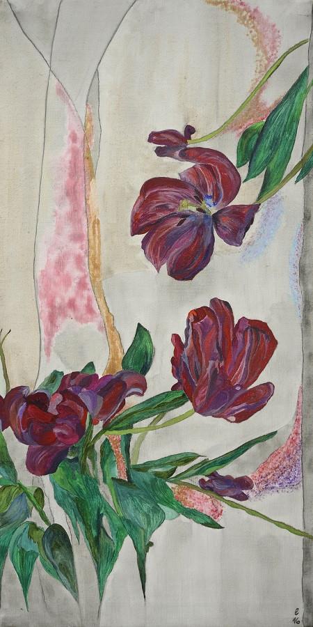 paravent – motiv tulpen – acryl 50 x 100