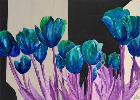 blaue tulpen – acryl 70 x 50