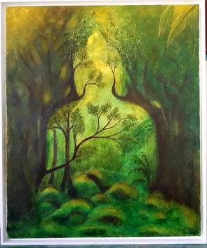 Buddha grün Mischtechnik 50x60 cm