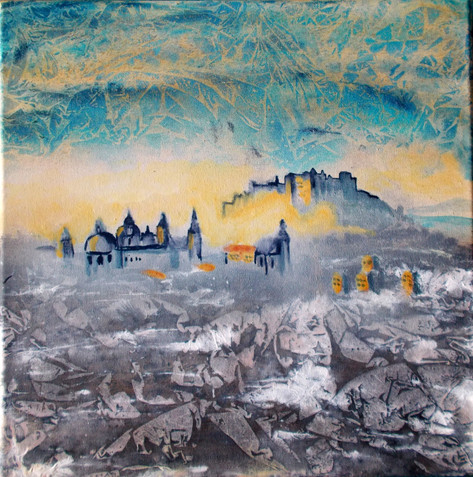Salzburg im Morgennebel abstrakt40x40