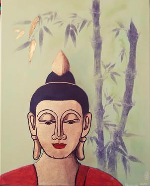 Buddha mit Bambus Mischtechnik 40x50 cm