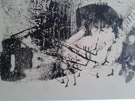 Schwarz-weiß 50x60cm Mischtechnik