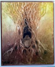Buddha braun Pigmentmalerei 50x60 cm
