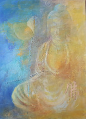 Buddha blau Acryl 60x80 cm