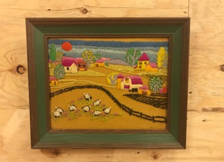 Framed Embroidered Farm Art