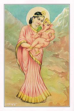 goddess-parvati-ganesha-handmade-paintin