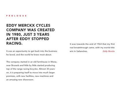 Eddy Merckx corporate brochure - texts