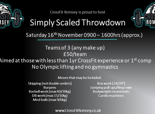 Simply Scaled Throwdown- 16th November 2019