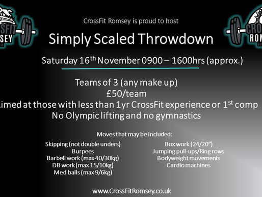 Simply Scaled Throwdown- 16th November 2019