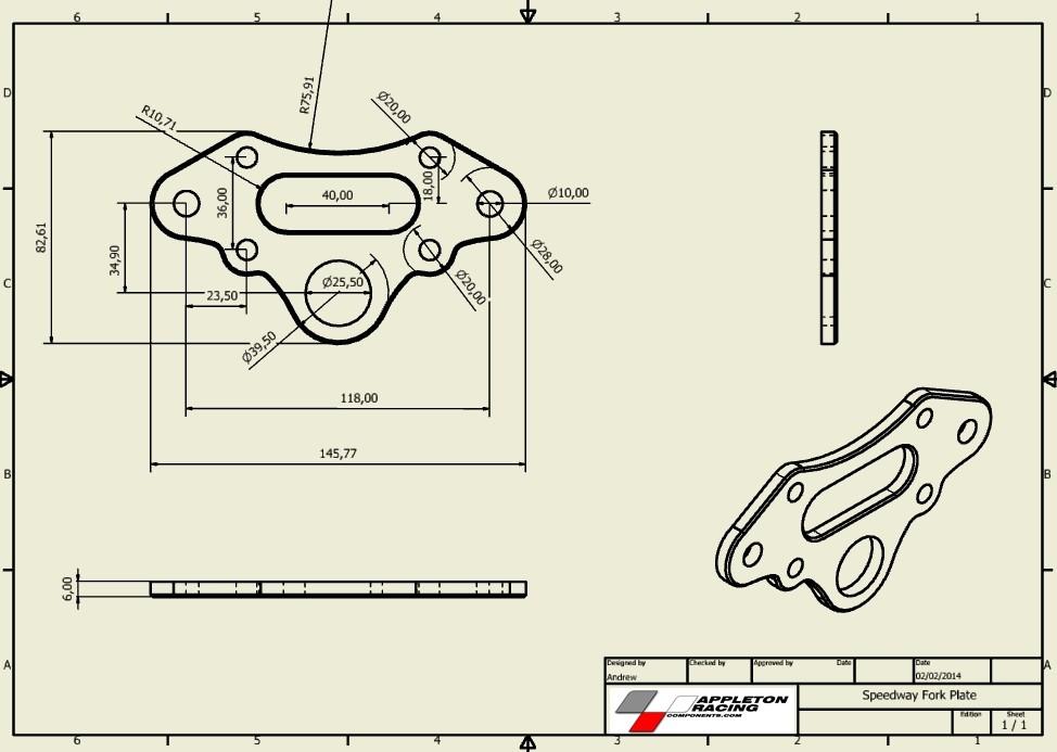 Trak Plus Speedway Fork Plate