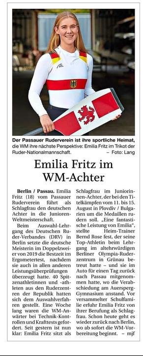 WM in Plovdiv- Emilia Fritz für den PRV