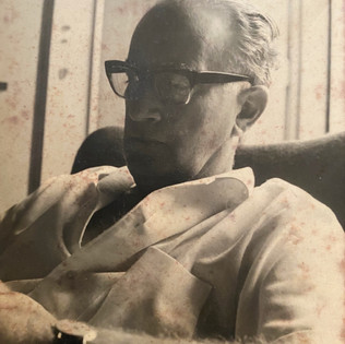 Andre on his armchair at his house on 140 Ahad Ha'am st. Tel Aviv, 1960's