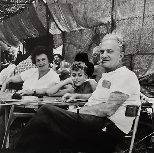 "Bundi, his second wife Gina & their son Eran at the ""Brecha"" restaurant in Tzfat , 1962"