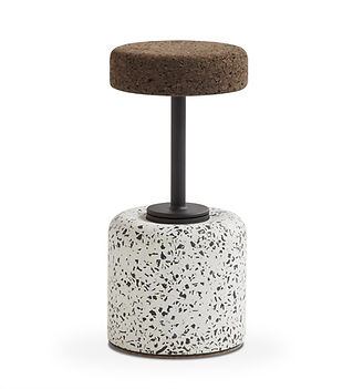 Contemporary African Barstool from Terrazzo Cork and steel Spain France Belgium