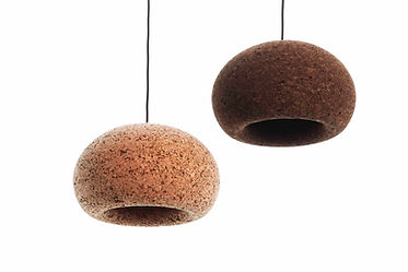 Dark and light cork pendent lights by laurie wiid van heerden available in spain france and portugal through mimic 2020 collection of african designs