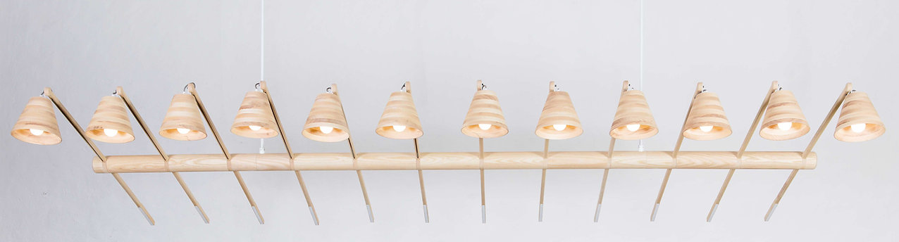 Suspended wooden lighting African Design available in Europe