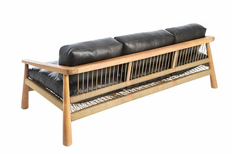 Magnet 3 seater Sofa in iroko wood with black leather upholstery and canvas crosshatch cord weave by john vogel in europe france spain portugal by mimic collection of african designs