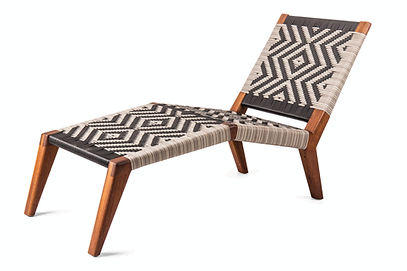 Upright Mantis Lounger in african iroko wood with grey and black angama plastic weave by vogel in europe spain france portugal by mimic collection of african designs art and outdoor furniture