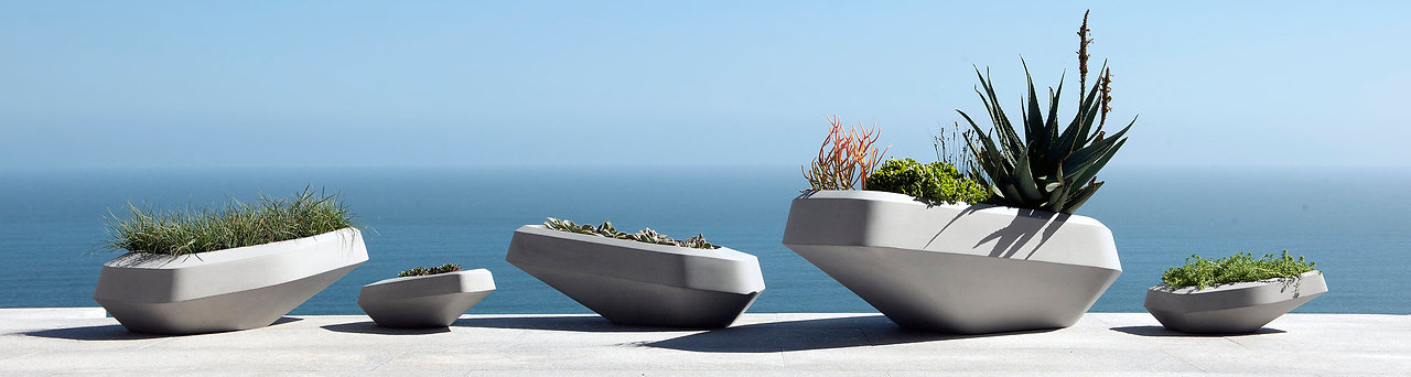 Glass reinforced concrete grey Steen Planters designed by SAOTA for Indigenus Planters