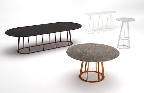 Contemporary African outdoor tables from steel and dekton spain france belgium