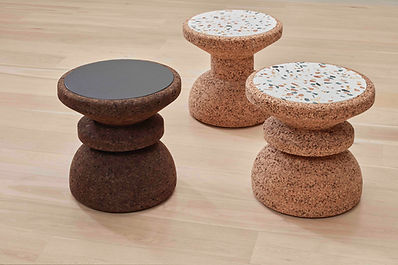 Contemporary african cork and terrazzo side tables available in spain france and belgium