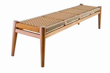 Nguni 4 seater bench in light white african iroko with gazelle and canvas cord weave by Vogel in europe spain france portugal by mimic collection of african designs art and furniture